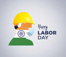 World Day for Safety and Health at Work concept. Happy Labour Day concept with indian flag. 1st May- International labor day concept. Labor safety and right at Workplace. Safety first for workers.