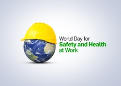 World Day for Safety and Health at Work concept.The planet Earth and the helmet symbol of safety and health at work place. Safety and Health at Work concept.