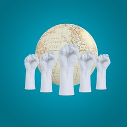 world Democracy day, International Day of Democracy provides an opportunity to make people appreciate the importance of democracy and the effective of Human Rights, earth behind the five hand,