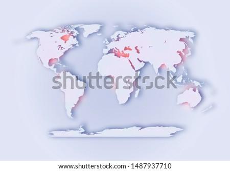 World digital outlined map background #1487937710