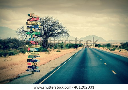 World directions signpost with distance to many different countries
