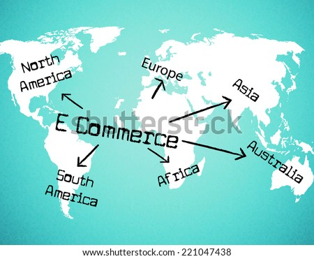 World E Commerce Representing Trading Commercial And E-Commerce