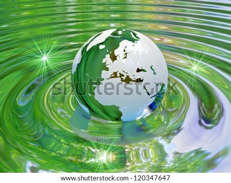 World eco globe in water