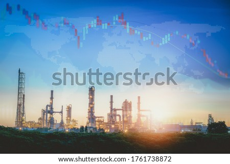 World Economic Recession of Oil and Gas Industrial Sector From Coronavirus Covid-19, Global Stock Investment Downturn of Fuel Energy Oil/Gas Industry. Corona Virus Epidemic Crisis, Financial Economy Stock foto ©