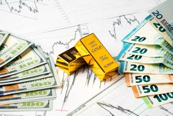 World economics. Finance concept of gold between the dollar and the Euro growth chart