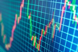 World economics graph. Conceptual view of the foreign exchange market. Stock market chart, graph on blue background. Stock market graph on the screen. Stock exchange graph.