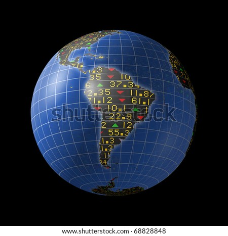 World economies with stock market tickers sliding on globe centered on South America