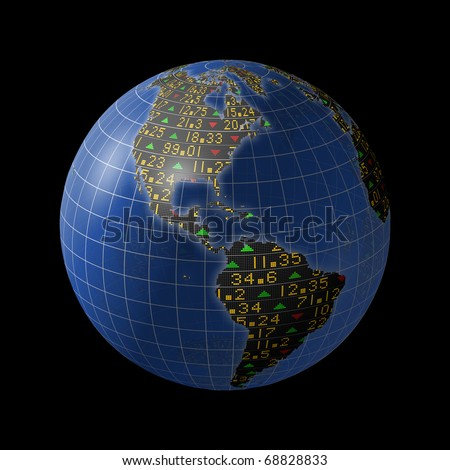 World economies with stock market tickers sliding on globe centered on the Americas