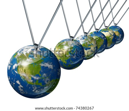 World economy pendulum with north america and the USA industry affecting the economies and financial politics of asia China and europe as well as the rest of the world powers.