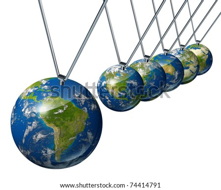 World economy pendulum with south america industry affecting the economies and financial politics of north america and europe as well as the rest of the world powers.