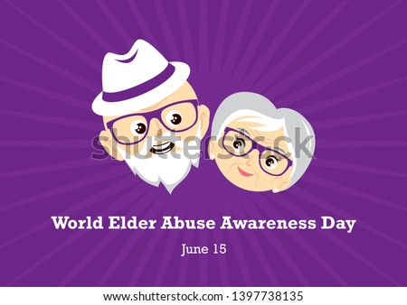World Elder Abuse Awareness Day illustration. Face of a happy senior illustration. Elderly couple in love. Elderly cartoon character. Abused seniors illustration. Elderly couple icon. Important day