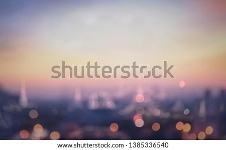 World environment day concept: Blur Bangkok city evening in summer background #1385336540