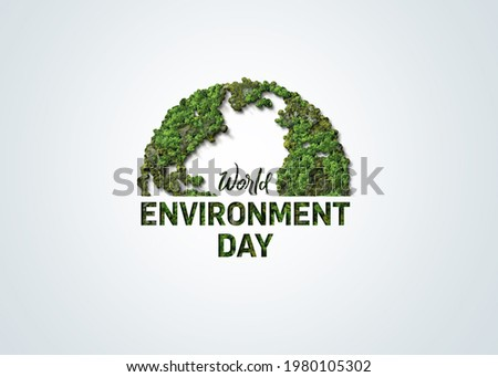 World Environment day concept 3d design. Happy Environment day, 05 June. World map with Environment day text 3d background illustration.