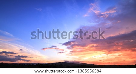 World environment day concept: Dramatic sky sunset background  #1385556584