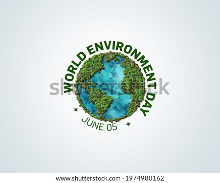 World Environment day concept 2021. Ecosystem Restoration 2021 environment day concept 3d tree background. Earth Globe In Green Forest - Environment day Concept.