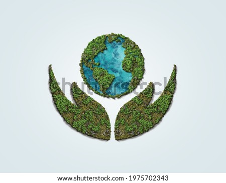 World Environment day concept 2021. Ecosystem Restoration 2021 environment day concept 3d tree background. Hand Holding earth Globe In Green Forest - Environment day Concept.