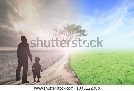 World environment day concept: Father and child standing between climate worsened with good atmosphere