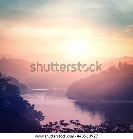 World environment day concept: Mountain river landscape at sunset background. Bang Lang Reservoir at Bethong, Yala, Thailand, Asia #443560927
