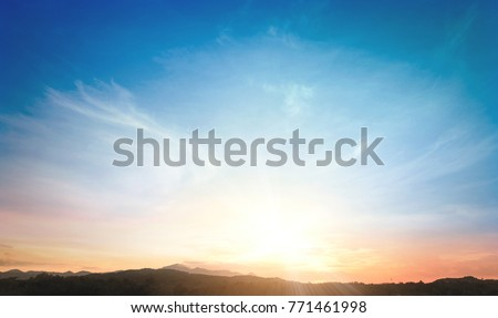 World environment day concept: Sun light and mountain sky of heaven autumn sunset background