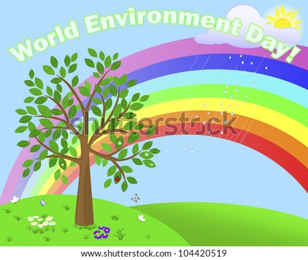 World Environment Day. Cute tree in the background of the summer landscape with rainbow.  Raster version.