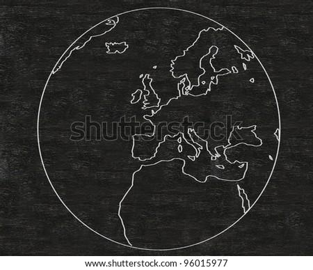world europe written on blackboard