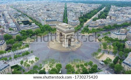 World famous Arc de Triomphe at the city center of Paris, France. Sky view Stock fotó ©