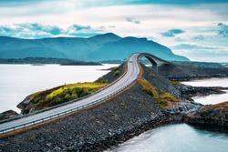 World famous Atlantic road bridge (Atlanterhavsvegen) with an amazing view over the norwegian mountains.