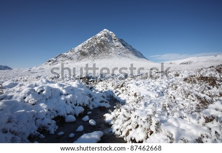 World famous Buachaille Etive Mor in Glencoe on a winters day.