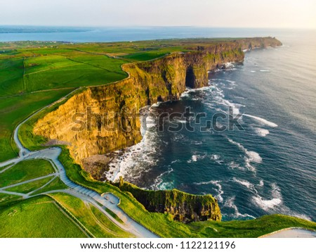 World famous Cliffs of Moher, one of the most popular tourist destinations in Ireland. Aerial view of widely known tourist attraction on Wild Atlantic Way in County Clare. Stock fotó ©
