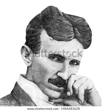 World famous inventor Nikola Tesla black and white portrait close up isolated on white background. Fragment of serbian banknote