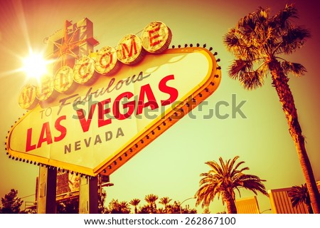 World Famous Las Vegas Nevada. Vegas Strip Entrance Sign in 80s Vintage Color Grading. United States of America.