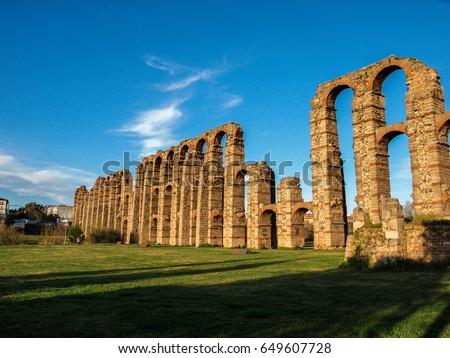 World famous roman Aqueduct of Merida, Spain #649607728