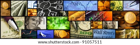 World finance system collage. High resolution image.