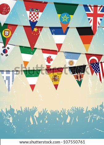 world flag bunting and crowd