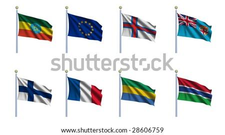 World flag set 08 - Ethiopia, European Union, Faroe Islands, Fiji, Finland, France, Gabon and Gambia - stock photo
