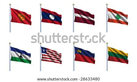 north korea flag. stock photo : World flag set