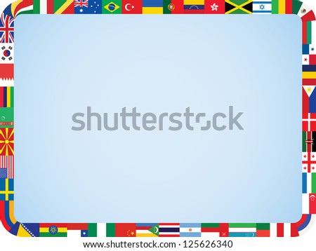 world flags frame with rounded corners