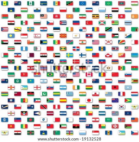 World flags isolated on white - stock photo