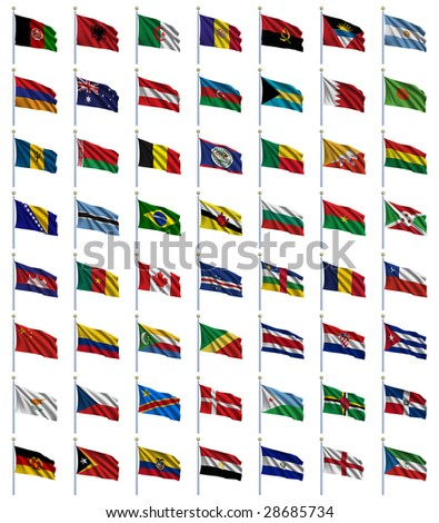 World Flags Set 1 of 4 - A to E - set of flags in alphabetical order from Afghanistan to Equatorial Guinea