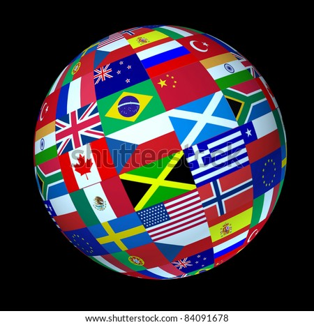 World flags sphere floating on a black background as a symbol representing international global cooperation in the world of business and political affairs.