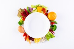 World food day, vegetarian day, Vegan day concept. Top view of fresh vegetables, fruit, with empty plate on white paper background.