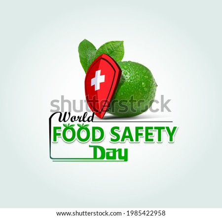 World Food Safety Day concept. Apple and helmet symbol of food safety. World Food Day Concept. Healthcare Safety symbol of Lemon food safety.