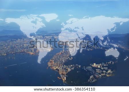 World Global Cartography Globalization ,hongkong island background (Elements of this image furnished by NASA)