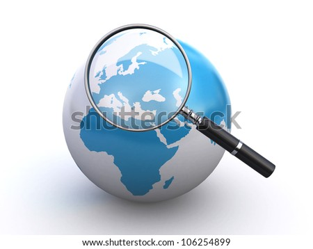 world globe and a magnifying glass