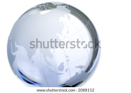 World globe continents over transparent glass North Pole Asia More in my portfolio