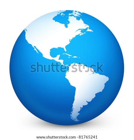 World globe in blue on isolated white background. 3D render image and part of icon series.