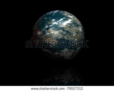 world globe isolated on black background