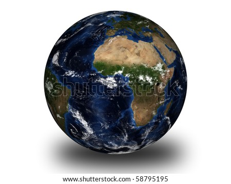 world globe isolated on white