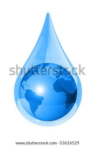 world globe map in a water drop isolated on white. 3D ecology symbol