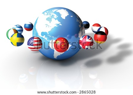 World globe with Country Planets on White Background